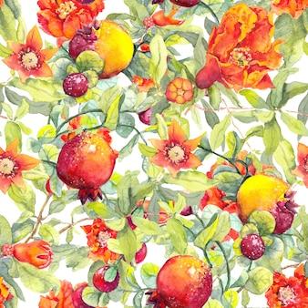 Granada frutas, flores rojas patrón floral transparente acuarela