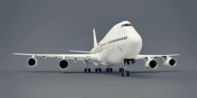 Grandes aviones de pasajeros de gran capacidad para largos vuelos transatlánticos. avión blanco sobre fondo gris aislado. ilustración 3d.