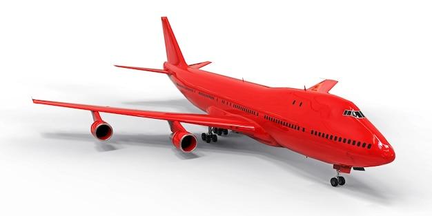 Grandes aviones de pasajeros de gran capacidad para largos vuelos transatlánticos. avión rojo sobre fondo blanco aislado. ilustración 3d.