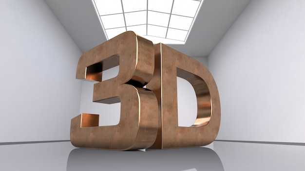 Grandes letras tridimensionales de cobre.