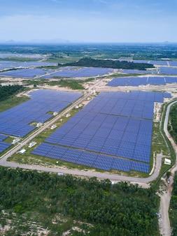 Granja solar, paneles solares de antena, tailandia