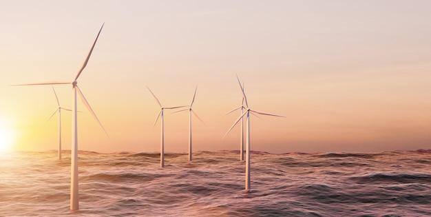 Granja de turbinas eólicas en el océano, gran parque de molinos de viento en el lago o el océano con la hora del atardecer, representación de la ilustración 3d