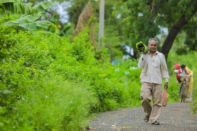 Granjero indio sosteniendo una hoja de plátano en la mano y caminando por la carretera