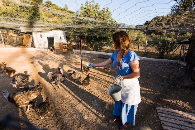 Granjero de sexo femenino que alimenta pollos en la granja
