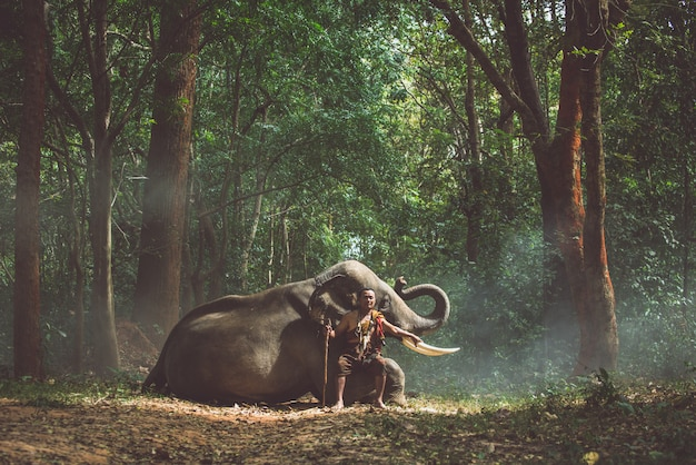 Granjero tailandés caminando con el elefante en la selva