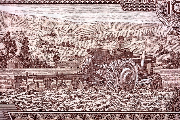 Granjero en un tractor de dinero etíope