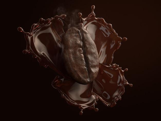 Grano de café con humo sobre café negro splash