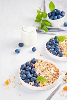 Granola casera o muesli de avena con nueces, frutas secas y bayas frescas.