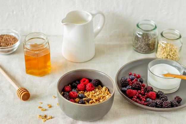Granola con frutas del bosque, yogur y miel.