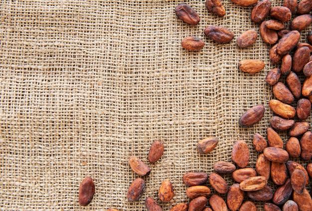 Granos de cacao crudos