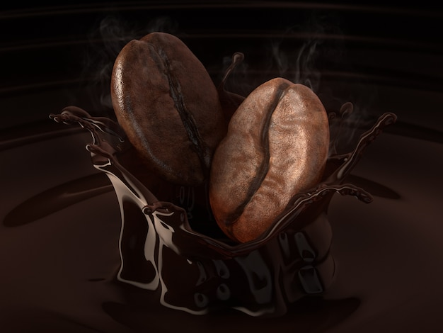 Granos de café en café negro splash