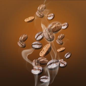 Granos de café con luz del sol en la mañana.