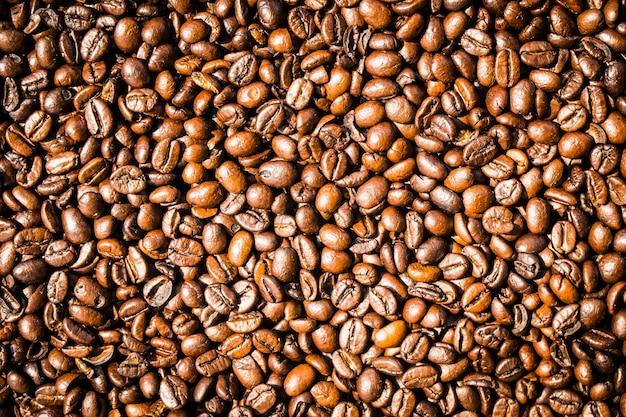 Granos de café marrón y semillas