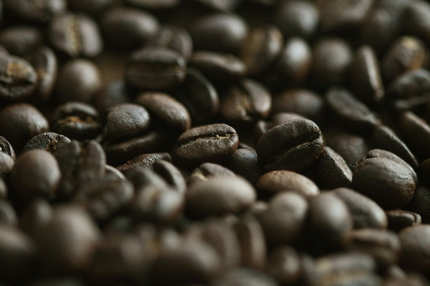 Granos de café sobre fondo de madera