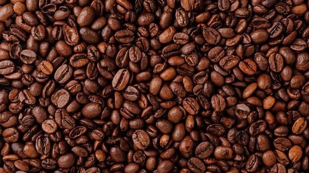 Granos de café tostados pared texure. vista aérea