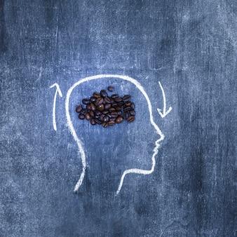 Granos de café tostados dentro de la cara de contorno con flechas en la pizarra