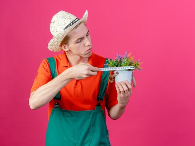 Grave joven jardinero hombre vestido con mono y sombrero sosteniendo planta en maceta midiéndolo