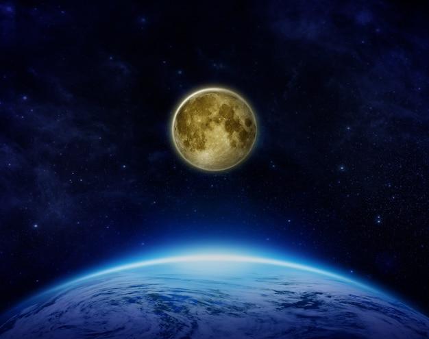 Gravedad de la luna y la tierra en el espacio reflejo y efecto de la luz de la luna sobre la luna y la tierra en el sistema solar