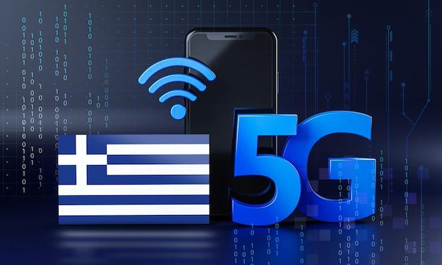 Grecia lista para el concepto de conexión 5g. fondo de tecnología de teléfono inteligente de renderizado 3d