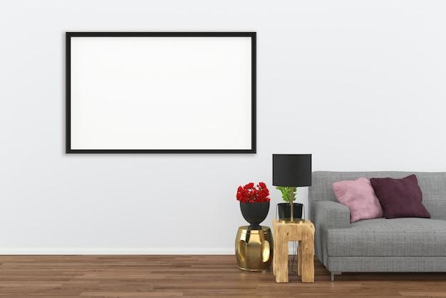 Gris sofá oscuro piso de madera sala de estar interior fondo de renderizado 3d con marco de fotos