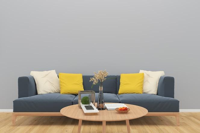 Gris sofá pared madera piso mesa florero fondo interior sala de estar