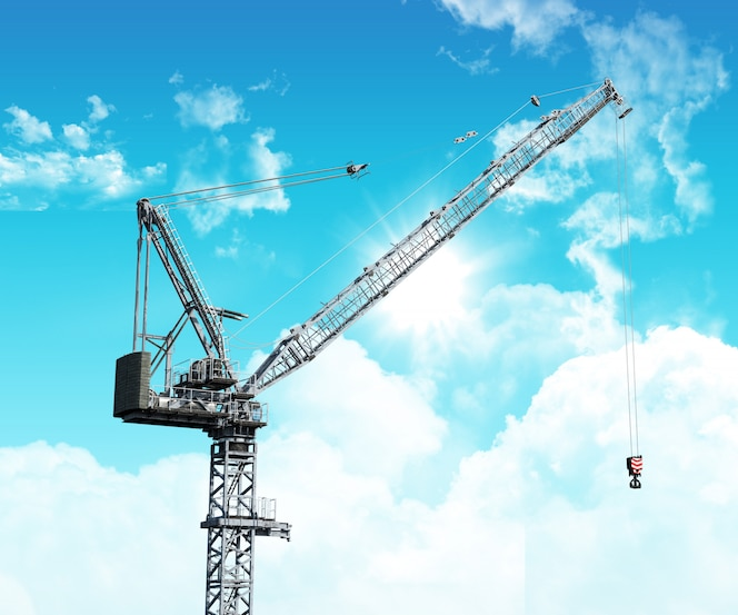 Grúa industrial 3d contra un cielo azul con nubes blancas mullidas