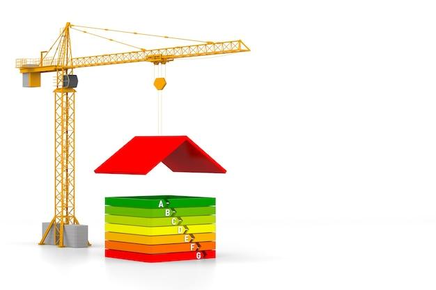 Grúa torre y casa sencilla sobre fondo blanco con eficiencia energética. representación 3d