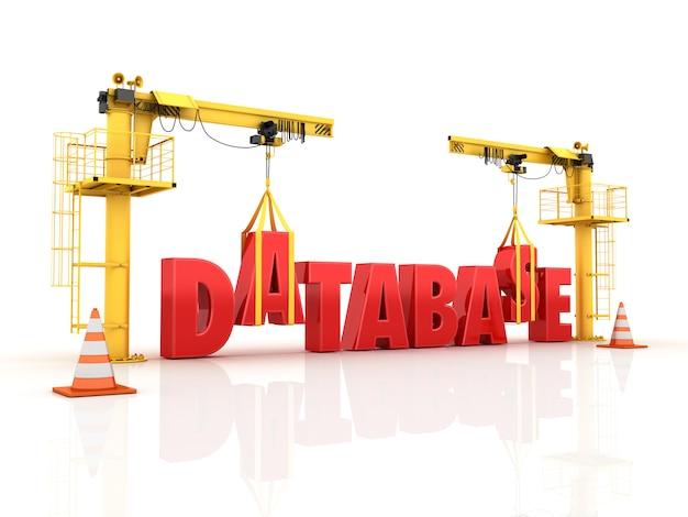 Grúas construyendo la palabra base de datos