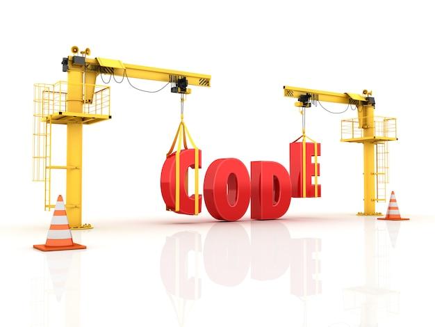 Grúas construyendo la palabra código