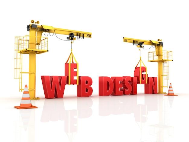Grúas construyendo la palabra diseño web