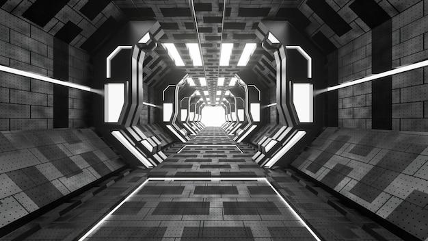 Grunge de ciencia ficción dañado fondo metálico corredor iluminado con luces de neón 3d render - ilustración