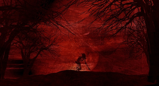 Grunge paisaje de halloween con esqueleto espeluznante contra un cielo iluminado por la luna