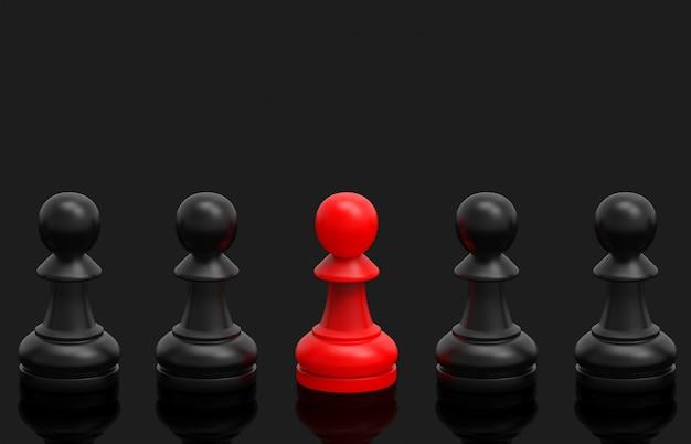Un grupo de ajedrez rojo entre negros
