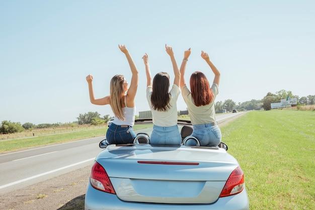 Grupo de amigos haciendo un road trip