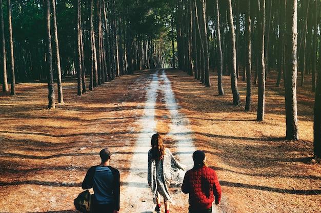 Grupo de amigos viajan juntos en el bosque