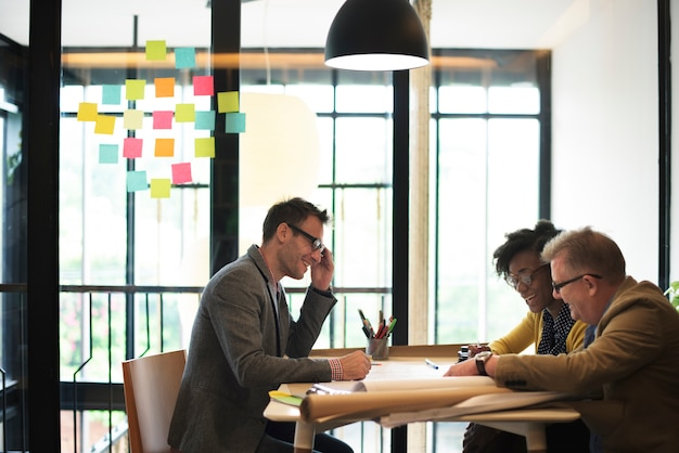 Grupo arquitecto concepto de planificación de reuniones de planificación