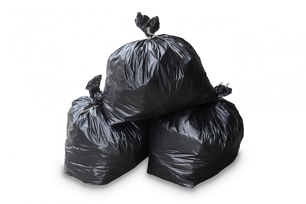 Grupo de bolsa de basura aislado corte sobre fondo blanco.
