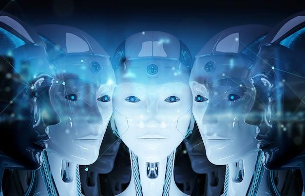 Grupo de cabezas de robots femeninos creando conexión digital representación 3d