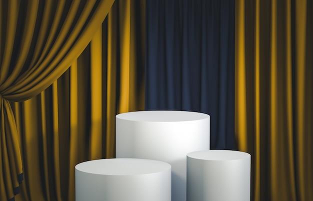 Grupo de caja cilíndrica blanca con podio de cortina dorada para exhibición de productos. render 3d escena de lujo.
