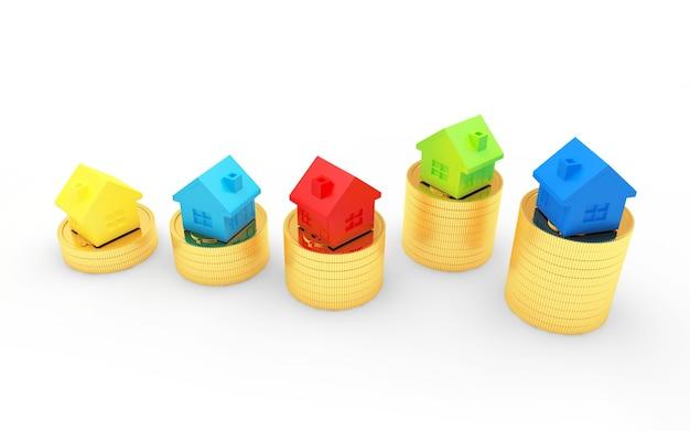 Grupo de casas coloridas en pilas de monedas