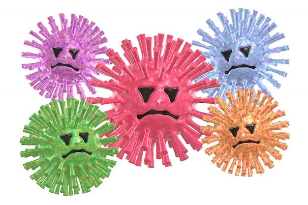 Grupo de color molécula de virus de neumonía atípica divertido y aterrador personaje de dibujos animados estilo con cara. el concepto de la enfermedad, pandemia, gripe, coronavirus.