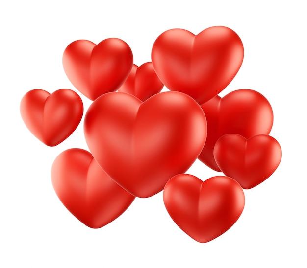 Grupo de corazones rojos sobre negro