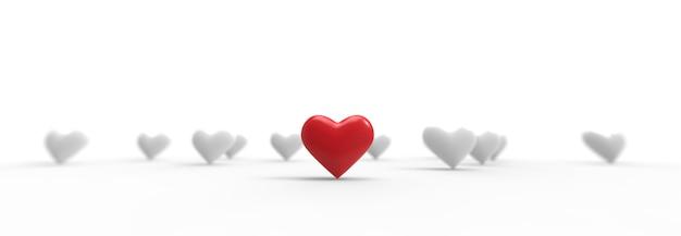 Grupo de corazones de san valentín. representación 3d