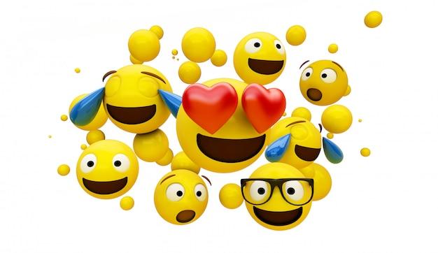 Grupo de emoticonos aislado