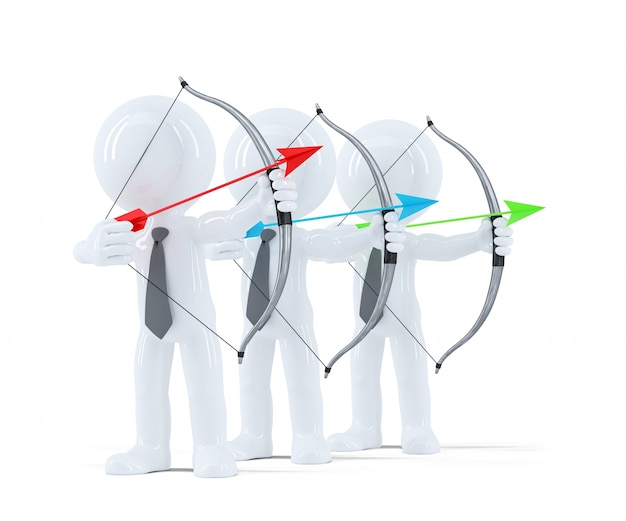 Grupo de empresarios apuntando a un objetivo