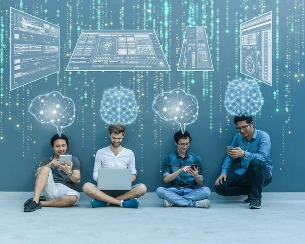 Grupo de empresarios asiáticos y multiétnicos que trabajan con cerebro y pantalla virtual