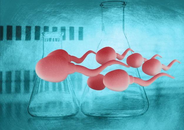 Grupo de espermatozoides agrandados moviéndose hacia el óvulo, modelado 3d