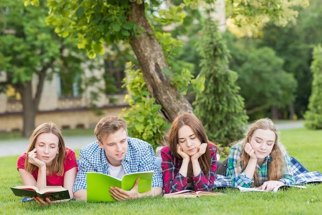 Grupo de estudiantes jóvenes estudiando en parque