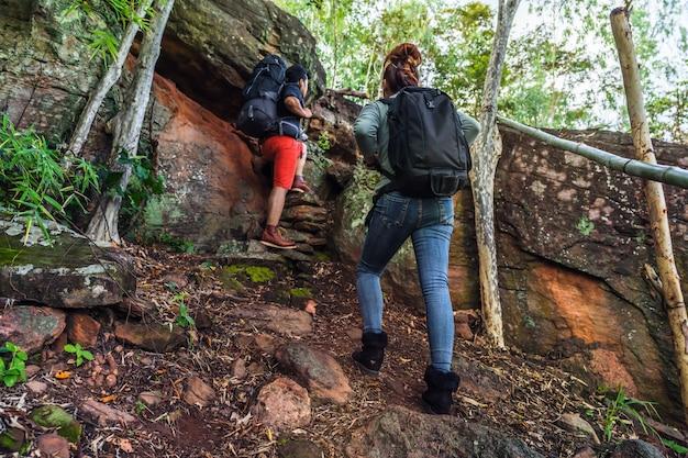 Grupo de excursionistas subiendo en el bosque