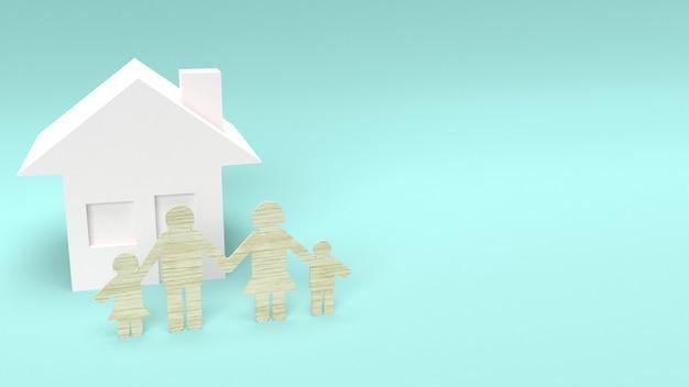 Grupo familiar de madera troquelada para el concepto de hogar.